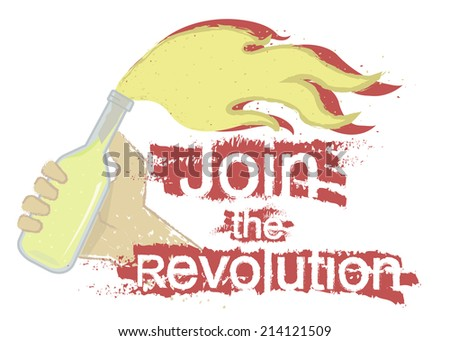 Grunge scratched protest logo with hand holding molotov cocktail and sign: Join the revolution isolated on white - stock vector