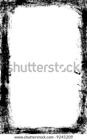 Grunge scuffed border with rough painted brush strokes - vector - stock vector