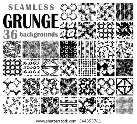 Grunge seamless backgrounds, black-and-white detailed patterns - stock vector