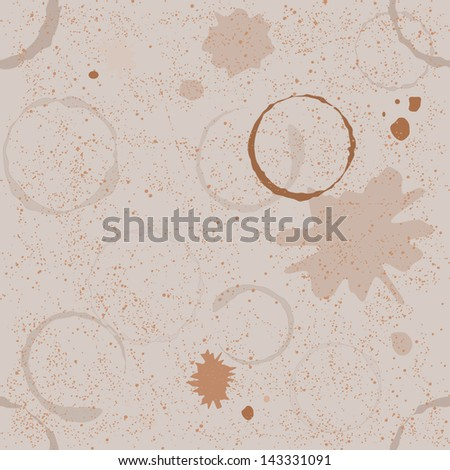 Grunge seamless pattern with coffee stains and blots - stock vector