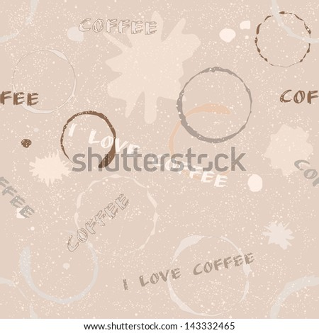 Grunge seamless pattern with coffee stains, blots and text - stock vector