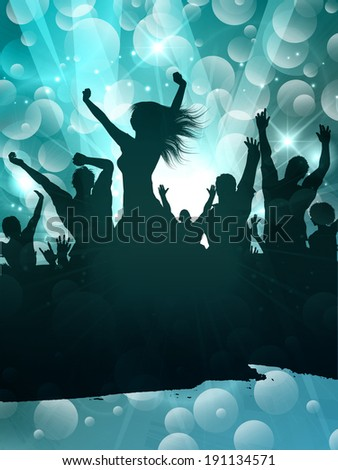 Grunge silhouette of a party crowd on an abstract background - stock vector
