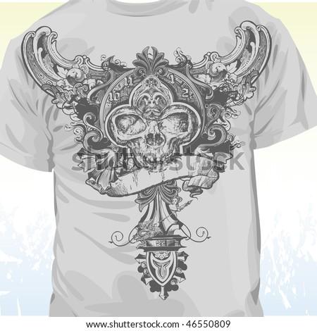 Grunge skull banner apparel design - stock vector