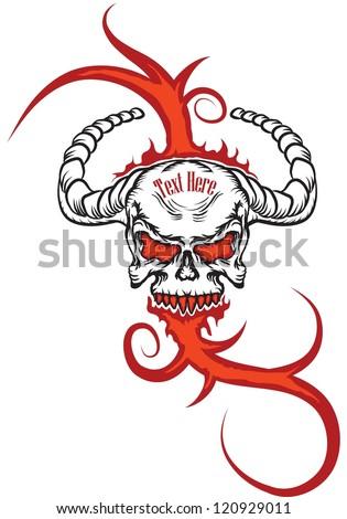 grunge skull burn in ornamental fire - stock vector