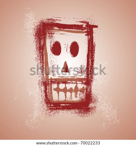 Grunge skull graphic face in separate layers - stock vector