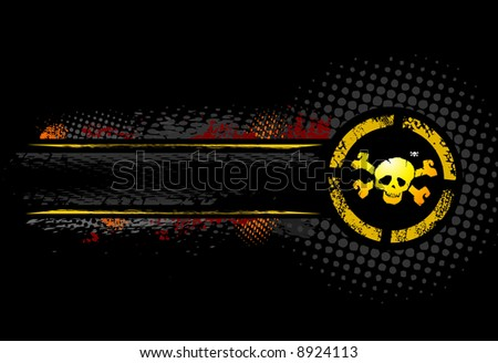 Grunge skull with text banner - stock vector