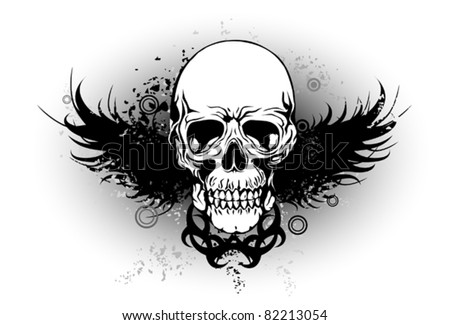 grunge skull with wing