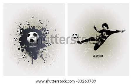 Grunge Soccer Ball background with player - stock vector