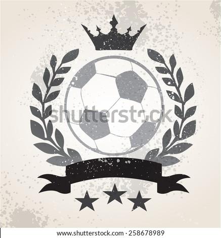 Grunge Soccer laurel weath - stock vector