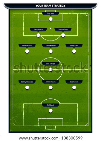 Grunge soccer playing field with strategy elements. Vector illustration. - stock vector