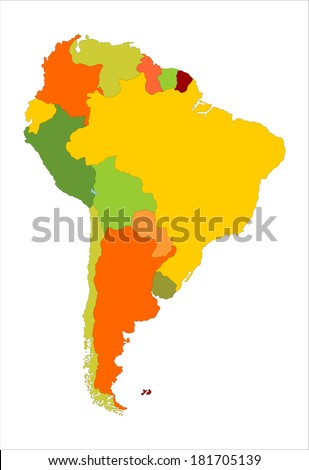 Grunge South America vector map with separated countries isolated on white background.  - stock vector