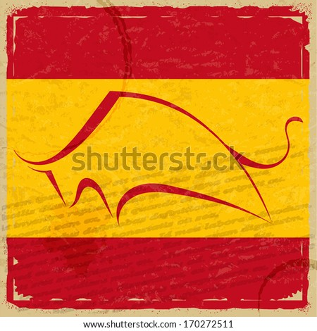 Grunge Spanish flag with the silhouette of a bull - stock vector