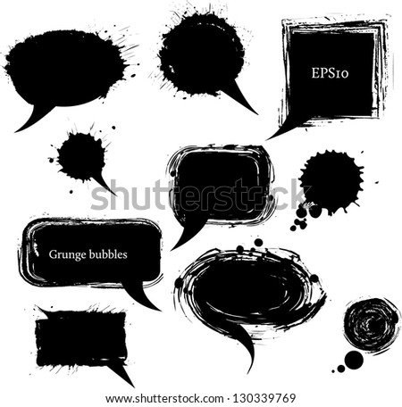 Grunge speech and thought bubbles. Vector illustration - stock vector