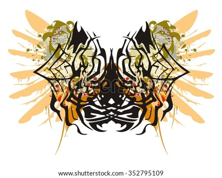 Grunge spider butterfly and grunge women. Spider in a web - splashes in a woman's face with the head and a wing of an eagle in tribal style  - stock vector