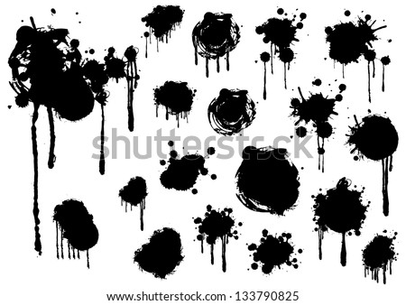 Grunge splashes set vector - stock vector
