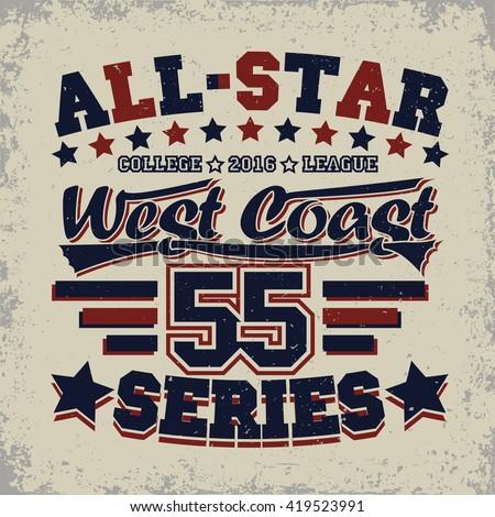 Grunge Sport t-shirt graphic design, grunge all-star league print stamp, vintage sport typography emblem, Creative design label, background, vector - stock vector