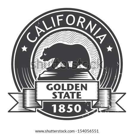 Grunge stamp or label with name of California, vector illustration - stock vector