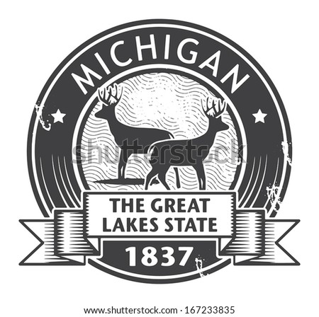 Grunge stamp or label with name of Michigan, vector illustration - stock vector