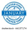 Grunge stamp with a cross country skier and the text January - winter time written inside, vector illustration - stock vector