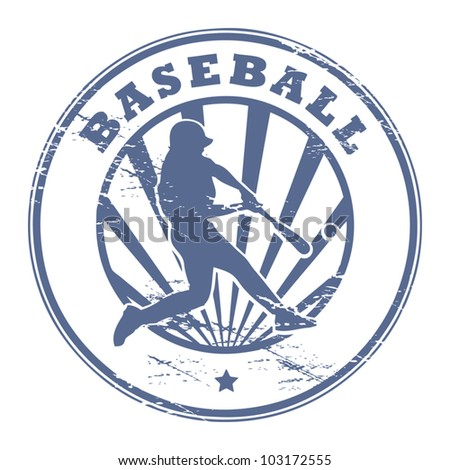 Grunge stamp with Baseball player silhouette, vector illustration - stock vector