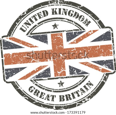 Grunge stamp with British flag - stock vector