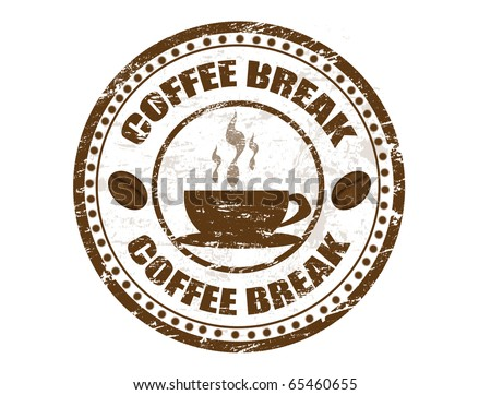 Grunge stamp with coffee cup and the text coffee break written inside - stock vector