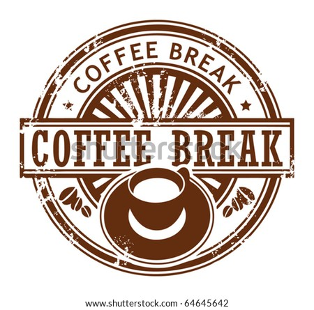 Grunge stamp with coffee cup and the text coffee break written inside the stamp, vector illustration - stock vector