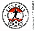 Grunge stamp with football and name Austria, vector illustration - stock photo