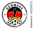 Grunge stamp with football and name Germany, vector illustration - stock vector