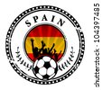 Grunge stamp with football fans and name Spain, vector illustration - stock vector
