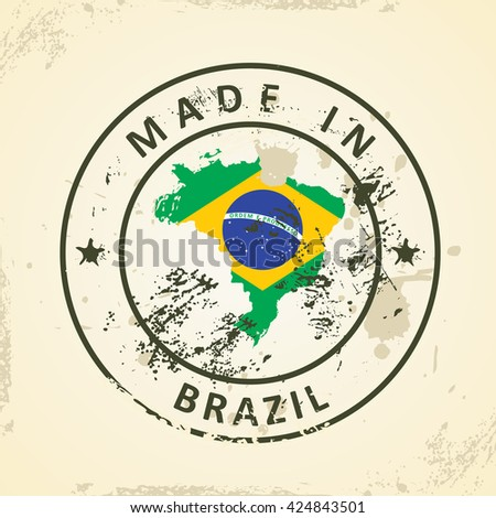 Grunge stamp with map flag of Brazil - vector illustration - stock vector