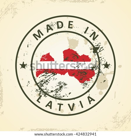 Grunge stamp with map flag of Latvia - vector illustration - stock vector