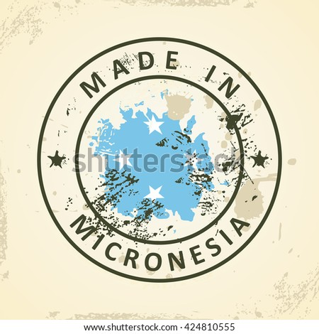 Grunge stamp with map flag of Micronesia - vector illustration - stock vector