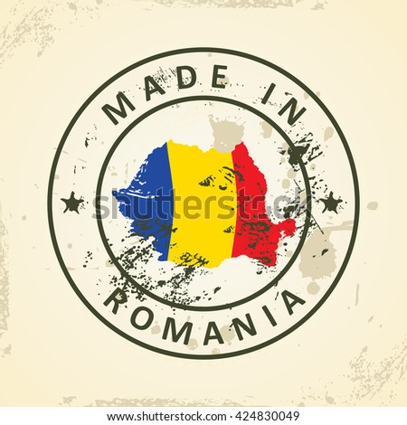Grunge stamp with map flag of Romania - vector illustration - stock vector