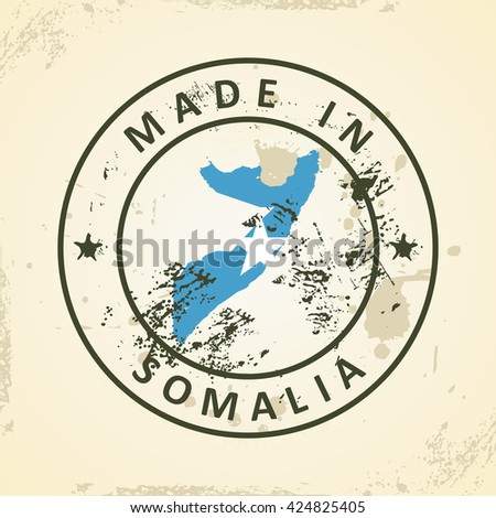 Grunge stamp with map flag of Somalia - vector illustration - stock vector