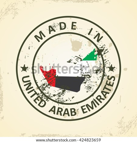 Grunge stamp with map flag of United Arab Emirates - vector illustration - stock vector