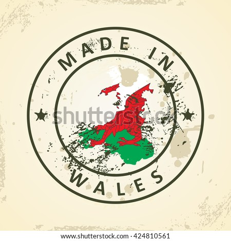 Grunge stamp with map flag of Wales - vector illustration - stock vector
