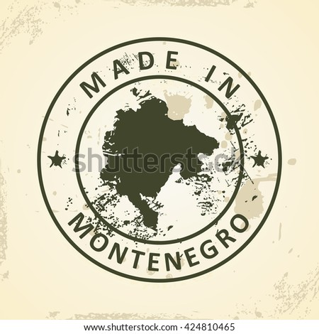 Grunge stamp with map of Montenegro - vector illustration - stock vector