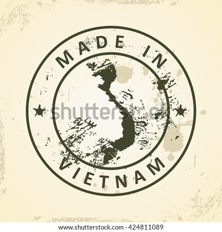Grunge stamp with map of Vietnam - vector illustration - stock vector