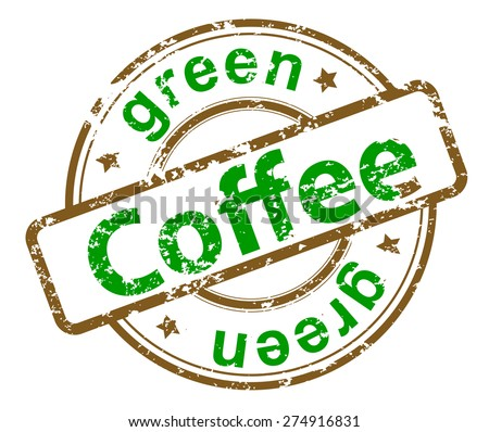 grunge stamp with text green coffee - stock vector