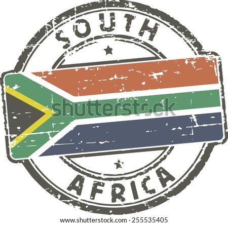 Grunge stamp with the flag of South africa - stock vector