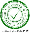 Grunge stamp with the word ACCEPTED and mark - stock photo