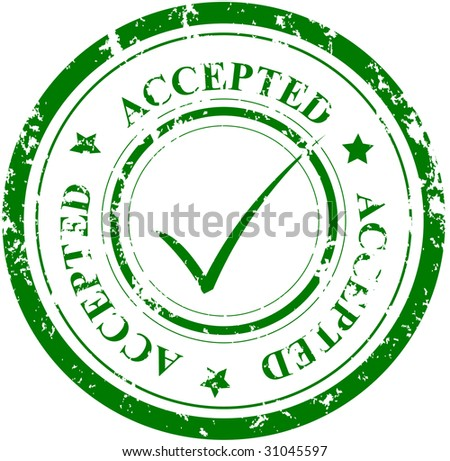 Grunge stamp with the word ACCEPTED and mark - stock vector