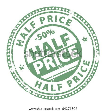 Grunge stamp with the words Half Price written inside, vector illustration - stock vector