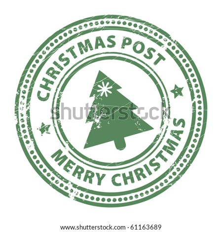 Grunge stamp with Xmas Tree and the text Christmas Post and Merry Christmas written inside the stamp - stock vector
