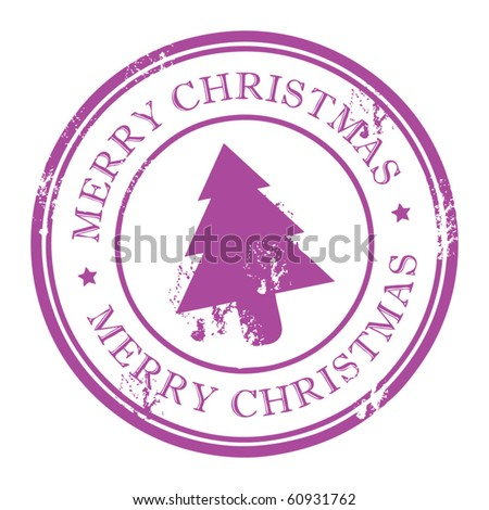 Grunge stamp with Xmas Tree and the text Merry Christmas written inside the stamp - stock vector