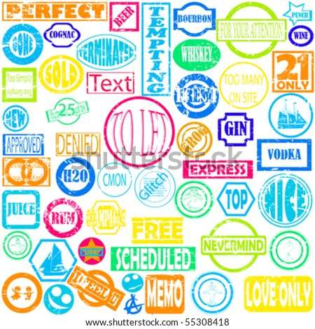 Grunge stamps collection with various texts - stock vector