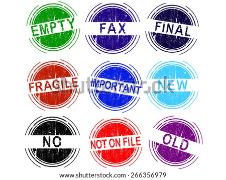 Grunge Stamps - Set of 9 office stamps (2 of 4) - stock vector