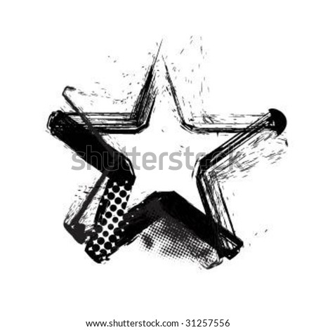 Grunge star - stock vector