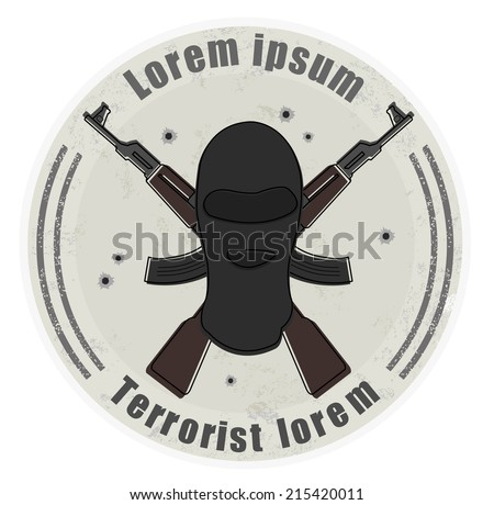 Grunge stone terrorist logo with balaclava mask and 2 crossed rifles. Bullet holes. Isolated on white  - stock vector
